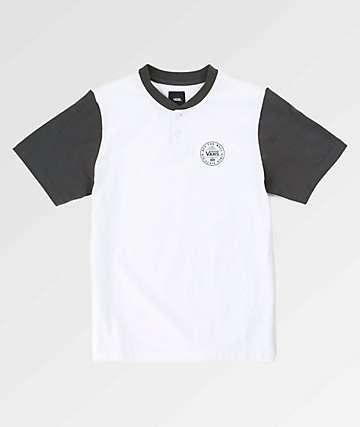 Vans Boys Denton Asphalt & White Henley T-Shirt