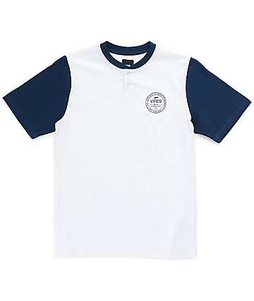 Vans Boys Denton White & Blue Henley T-Shirt