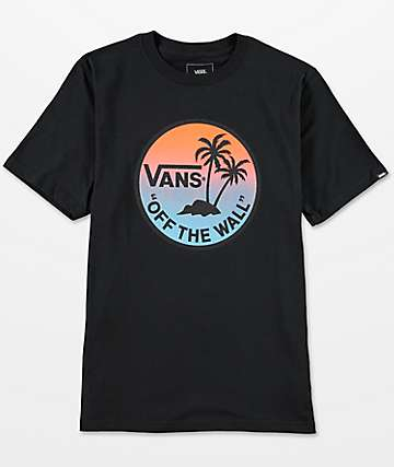 Vans Boys Dual Palm Gradient Black T-Shirt