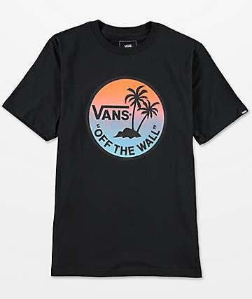 Vans Boys Dual Palm Gradient Black T-Shirt