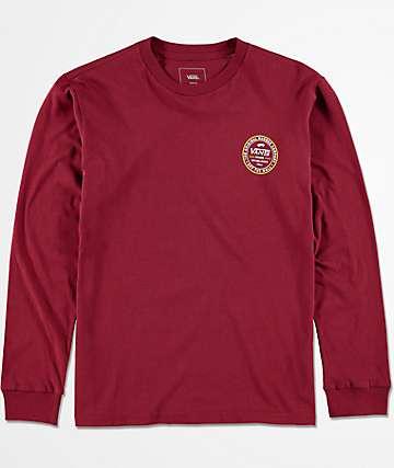 Vans Boys Established 66 Long Sleeve Burgundy T-Shirt