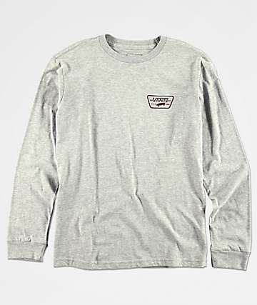 Vans Boys Full Patch Grey & Burgundy Long Sleeve T-Shirt
