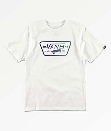 Vans Boys Full Patch White & Purple T-Shirt