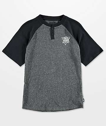 Vans Boys Hitson III Heather Black Raglan T-Shirt