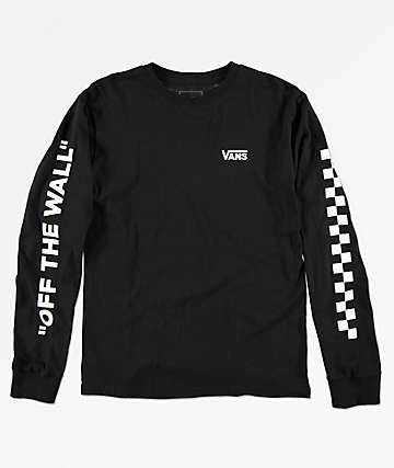 Vans Boys Left Check Black Long Sleeve T-Shirt