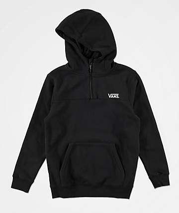 Vans Boys Logo Quarter Zip Black Hoodie
