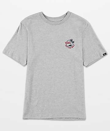 Vans Boys Mini Dual Palm III Heather Grey T-Shirt