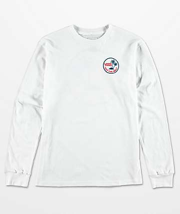 Vans Boys Mini Dual Palm White Long Sleeve T-Shirt