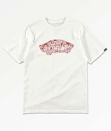 Vans Boys OTW Logo Fill White & Red T-Shirt