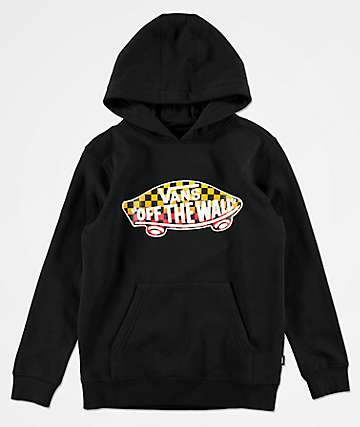 Vans Boys Off The Wall Black & Gradient Check Hoodie
