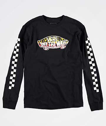 Vans Boys Off The Wall Flame Black Long Sleeve T-Shirt