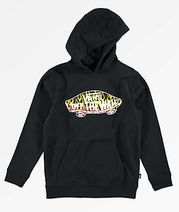 Vans Boys Off The Wall Flames Black Hoodie