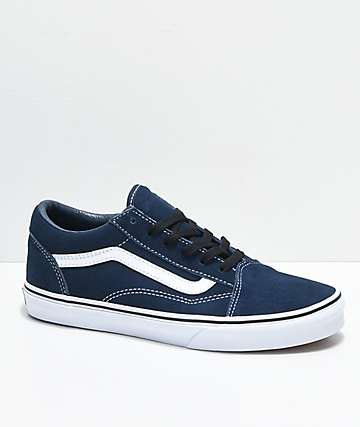 Vans Boys Old Skool Dress Blue Suede Skate Shoes