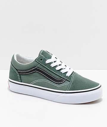 Vans Boys Old Skool Duck Green & Black Shoes