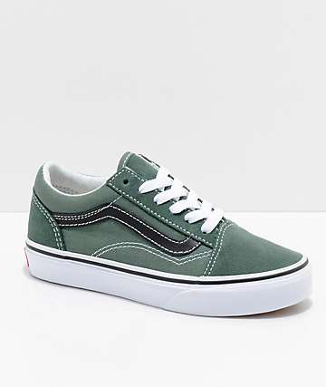 Vans Boys Old Skool Duck Green & Black Shoes