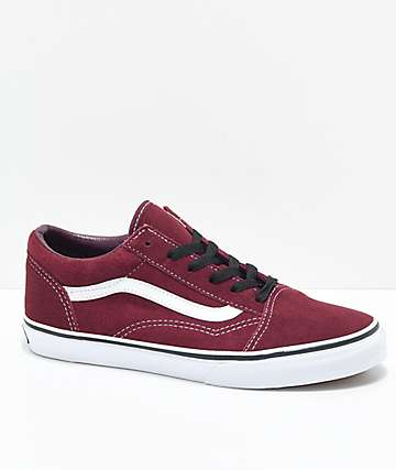 Vans Boys Old Skool Port Royale Red & White Skate Shoes