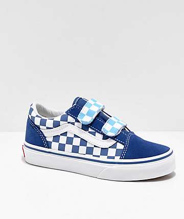 Vans Boys Old Skool V Navy Blue & Checker Skate Shoes