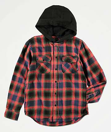 Vans Boys Parkway Dress Blue & Red Hooded Flannel Shirt