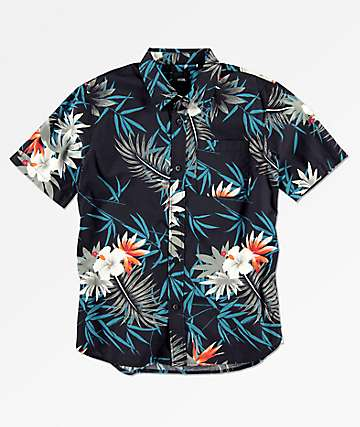Vans Boys Peace Out Floral Short Sleeve Button Up Shirt