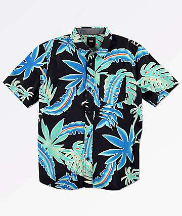 Vans Boys Pit Stop Black Floral Short Sleeve Button Up Shirt