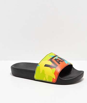cdc89d196bd Vans Boys Pop Camp Yellow   Black Slide Sandals