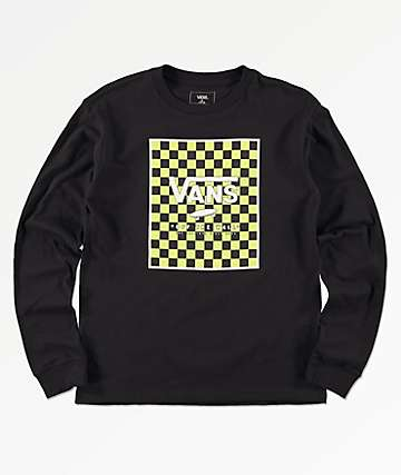 Vans Boys Print Box Black & Sharp Green Long Sleeve T-Shirt