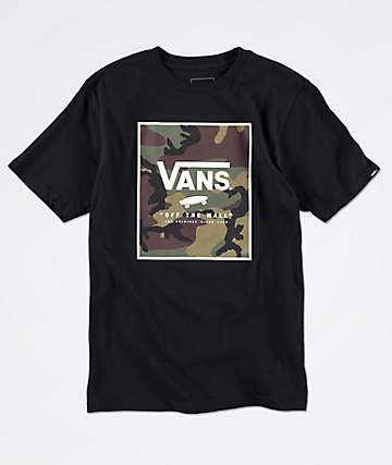 Vans Boys Print Box Camo Black T-Shirt