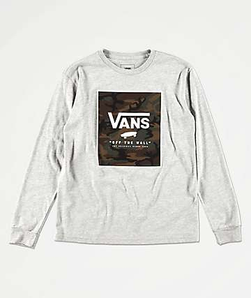 Vans Boys Print Box Heather Grey & Camo Long Sleeve T-Shirt