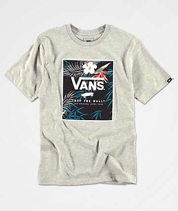 258ed7ef862928 Vans Boys Print Floral Box Heather Grey T-Shirt