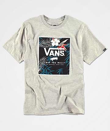 5c3179f62 Vans Boys Print Floral Box Heather Grey T-Shirt