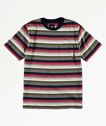 Vans Boys Redmond Navy, Red & White Striped Pocket T-Shirt