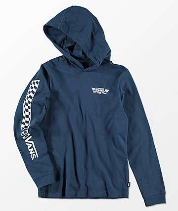 Vans Boys Van Doren Dress Blue Long Sleeve Hooded T-Shirt