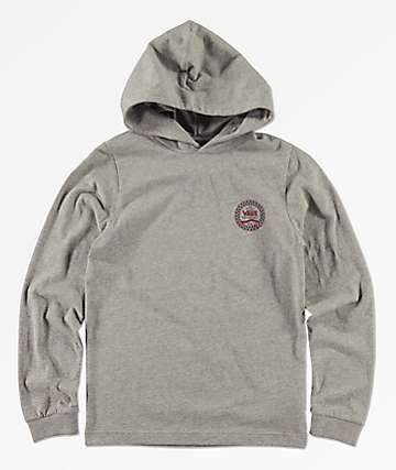 Vans Boys Van Doren Grey Hooded Long Sleeve T-Shirt
