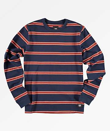 Vans Boys Watson Navy & Red Striped Long Sleeve T-Shirt