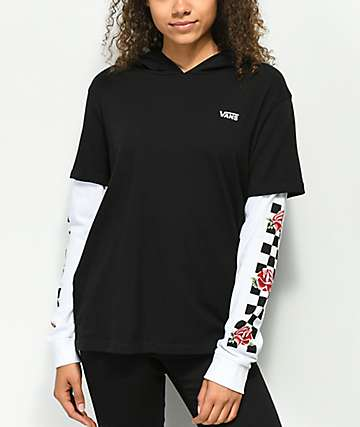 Vans Break Time 2Fer Hooded Long Sleeve Shirt