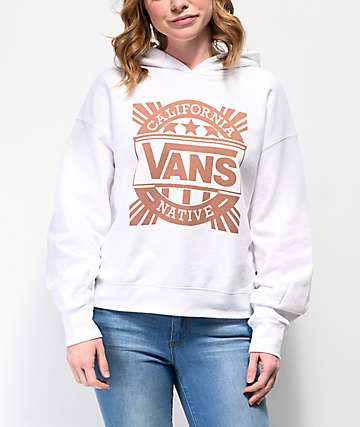 Vans Cali Native White Crop Hoodie