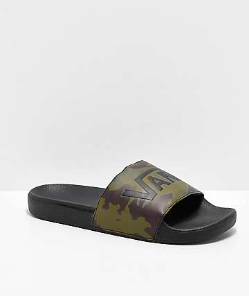 Vans Camo Black & Green Slide Sandals