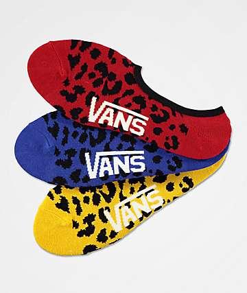 Vans Canoodle Primary Leopard 3 Pack No Show Socks