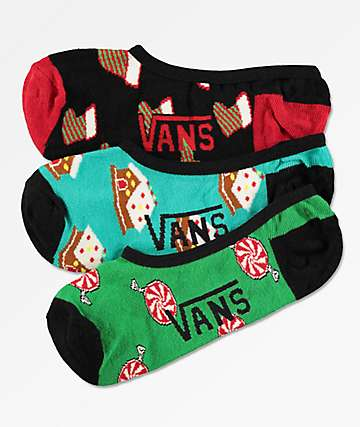 Vans Canoodle Sugar Animal 3 Pack No Show Socks