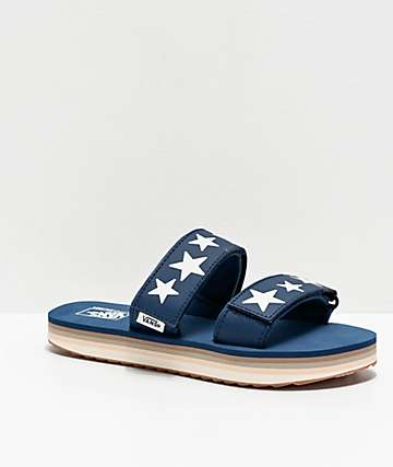 Vans Cayucas Star Gibraltar Sea & Marshmallow Platform Slide Sandals