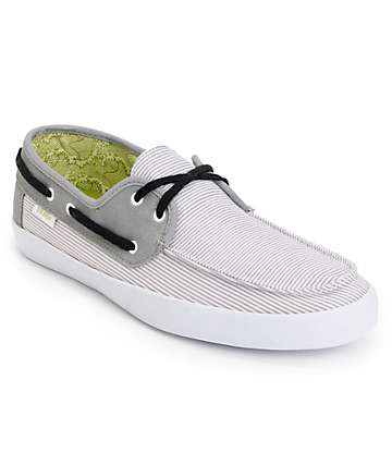 Vans Chauffeur Grey Pinstripe Boat Skate Shoes
