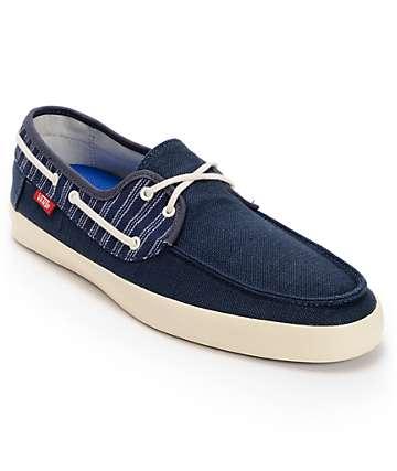 Vans Chauffeur Navy Blue & Antique White Boat Skate Shoes