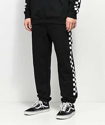 Vans Check pantalones deportivos en negro y blanco