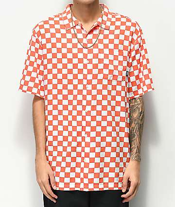 Vans Checker Camp Emberglow Short Sleeve Button Up Shirt