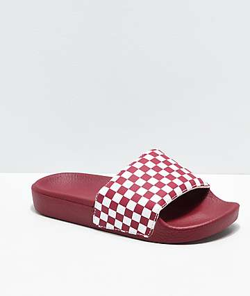 Vans Checker Red & White Slide Sandals