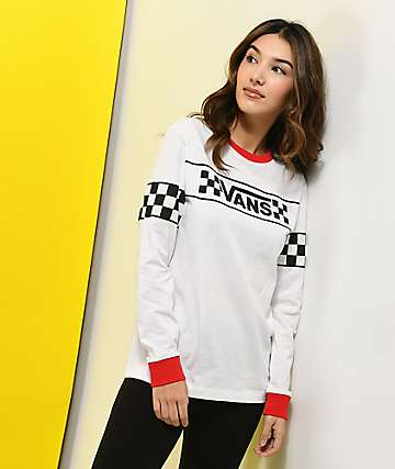 Vans Checker Ringer camiseta de manga larga blanca y roja