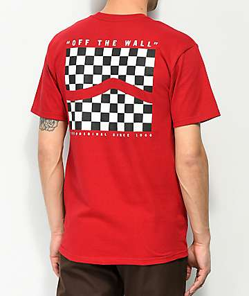 f1bea0925 Vans Checker Side Stripe Red T-Shirt