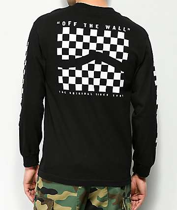 Vans Checker Side Stripe camiseta negra de manga larga