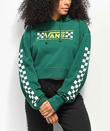 5a5da7dd92 Vans Checkerboard Bar Green Crop Hoodie