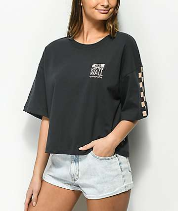 7f14a2aa0e7ae Vans Checkerboard Black   Tan Crop T-Shirt